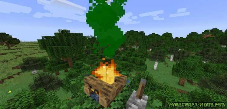 скриншот фото Мод Цветной Дым Colorful Campfire Smoke