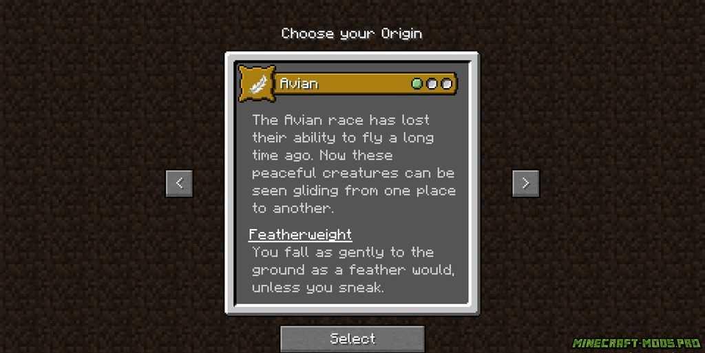 скриншот фото Мод origins - Происхождение